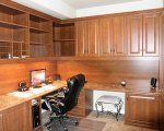 Full cherry wood office with desk and upper cabinets