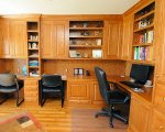 Built in office with open shelving, base couters and upper cabinets